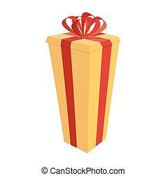 regalo grande, box., festivo, alto, regalo, vettore, illustrazione, per, anno nuovo, e, natale
