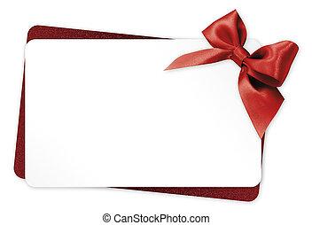 regalo, isolato, arco, nastro, fondo, bianco, scheda, rosso