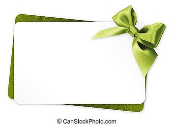 regalo, isolato, arco, verde, nastro, fondo, bianco, scheda