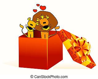 regalo, leoni, bello