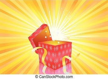regalo, luce, luminoso, vettore, fondo, aperto, natale