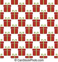 regalo, modello, seamless, boxes., fondo, natale, rosso