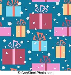 regalo, modello, seamless, neve, scatole, natale