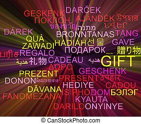 regalo, multilanguage, wordcloud, fondo, concetto, ardendo