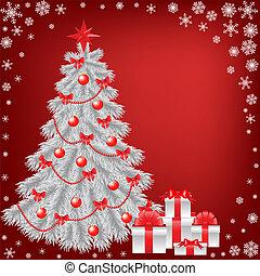 regalo natale, albero, bianco