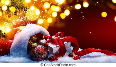 regalo natale, scatola, e, vacanze, luci, su, sfondo rosso