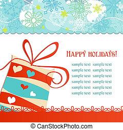 regalo natale, scatola, festivo, fondo, vettore