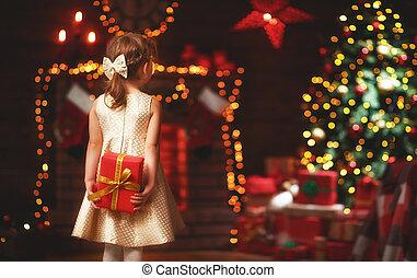 regalo, niño, hogar, niña, navidad, feliz