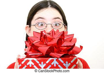 regalo, obteniendo
