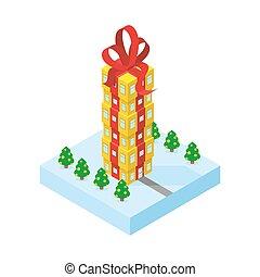 regalo, oficina, bow., edificio, alto, parte, skyscraper., ...