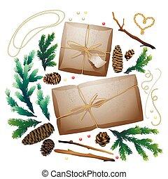 regalo, pacchetto, natale, collezione
