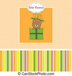regalo, pacchetto, orso