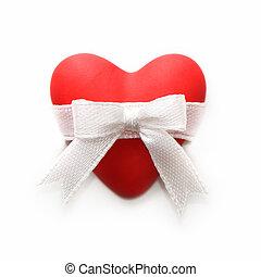 regalo, para, valentino, day., corazón rojo