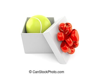 regalo, pelota de tenis, dentro