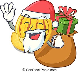 regalo, pepino, succo, santa, melone, cartone animato, occhiali