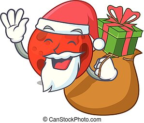 regalo, pianeta, santa, marte, cartone animato, mascotte