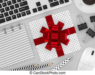 regalo, render, cima, workspace, 3d, vista