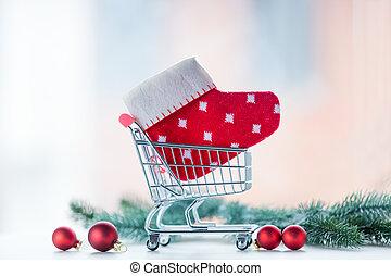 regalo, shopping, natale, carrello
