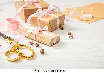 regalo, space., vuoto, legno, disposizione, bianco, tabletop...