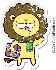 regalo, stanco, afflitto, adesivo, leone, cartone animato