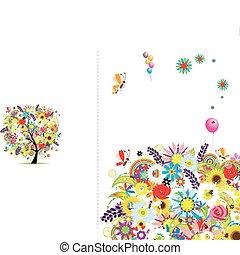 regalo, tarjeta, texto, marco, cubierta, lugar,  floral, su