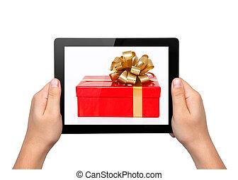 regalo, tavoletta, aggeggio, uomini, computer, mani, tocco, presa
