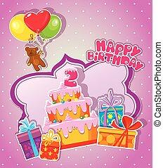 regalo, teddy, grande, due, boxes., bambino, compleanno, orso, torta, scheda