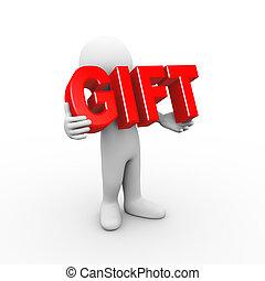 regalo, tenencia, palabra, 3d, hombre