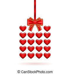 regalo, valentine, illustrazione, day., vettore, disegno, cuori, tuo