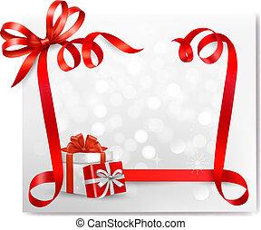 regalo, vettore, vacanza, fondo, arco, rosso, scatole