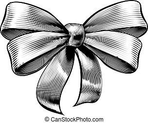 regalo, woodcut, vendemmia, arco, inciso, nastro, acquaforte
