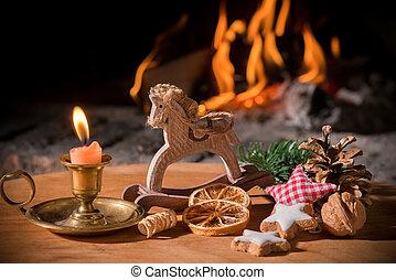 regalos, árbol, navidad, escena