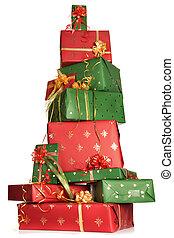 regalos, apilado, navidad