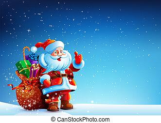 regalos, bolsa, claus, nieve, santa