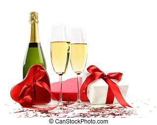 regalos, botella champaña, anteojos