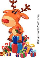 regalos, caja, se sienta, venado
