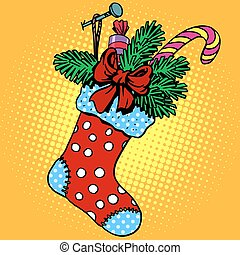 regalos, calcetín, navidad