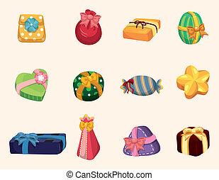 regalos, caricatura, icono
