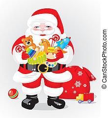 regalos, claus, -, santa, juguetes