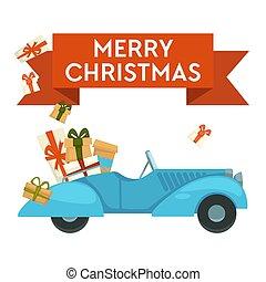 regalos, coche, saludo, navidad presenta, alegre, o, tarjeta