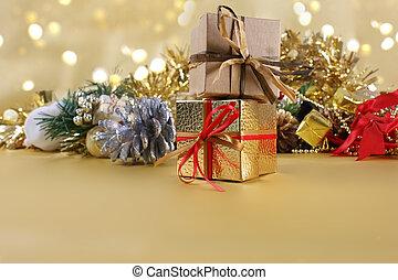 regalos de navidad, y, decoraciones, en, oro, plano de fondo