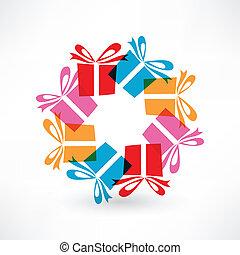 regalos, en, círculo
