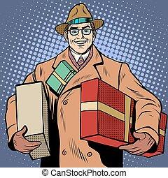 regalos, feriado, Saludos, hombre, alegre