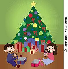 regalos, gemelos, navidad, apertura