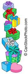 regalos, pila, colores, vario