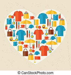 regalos, plano de fondo, publicidad, souvenirs., promocional