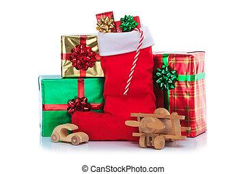 regalos, presentes, juguetes, envuelto, media de navidad