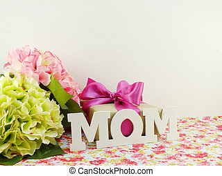 regalos, y, hermoso, ramode flores, para, mamá, para, madre,...