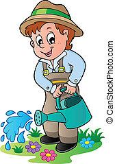 regar, caricatura, jardinero, lata