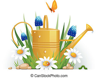regar flores, jardín, lata